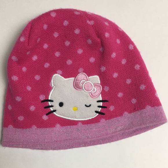 Girl/'s Hello Kitty Knit Beanie Hat Cap One Size Fits Most Pink Polka Dot Sanrio